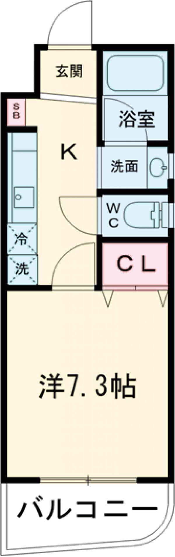 リヴェール石川台 103号室の間取り