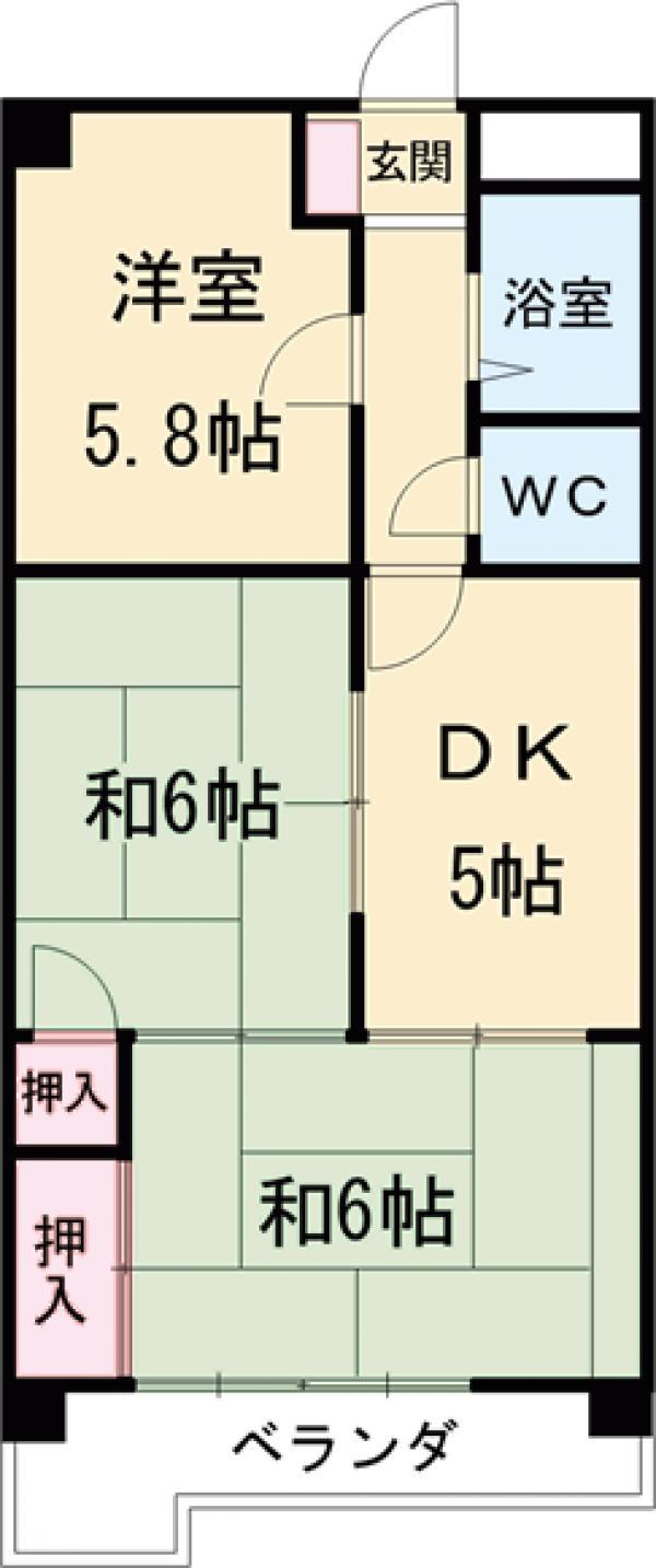 亀島サンダイマンション・C-3号室の間取り