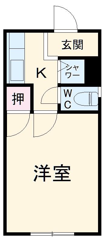 藤ヶ丘コーポ・102号室の間取り