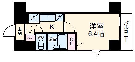 グランド・ガーラ横濱山下町 313号室の間取り