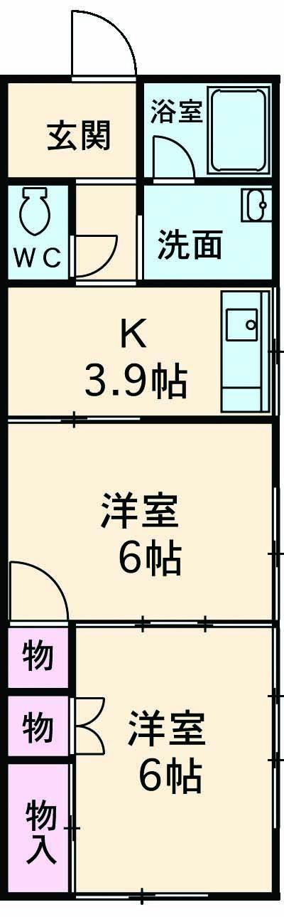 上東野ハイツ 201号室の間取り