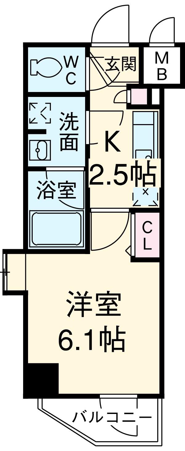 ガーラ・ステーション横浜関内・413号室の間取り