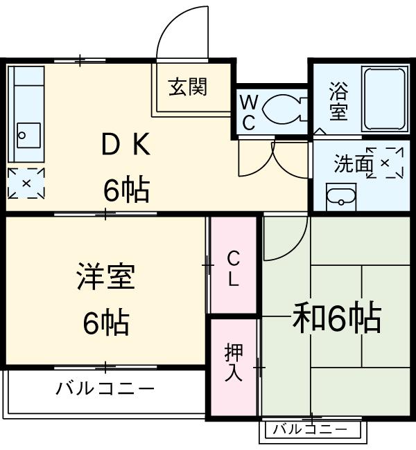 モンシャトー小金井成和・307号室の間取り