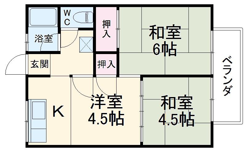 江川第一コーポ・101号室の間取り