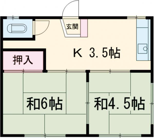 第三川端荘 201号室の間取り