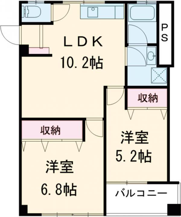 長谷川マンション・204号室の間取り