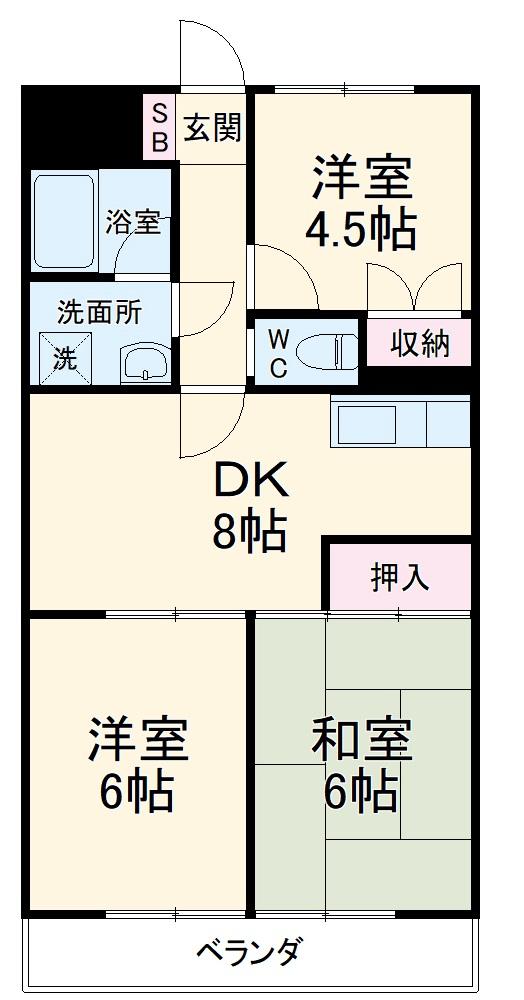 第3サンライズマンション・211号室の間取り