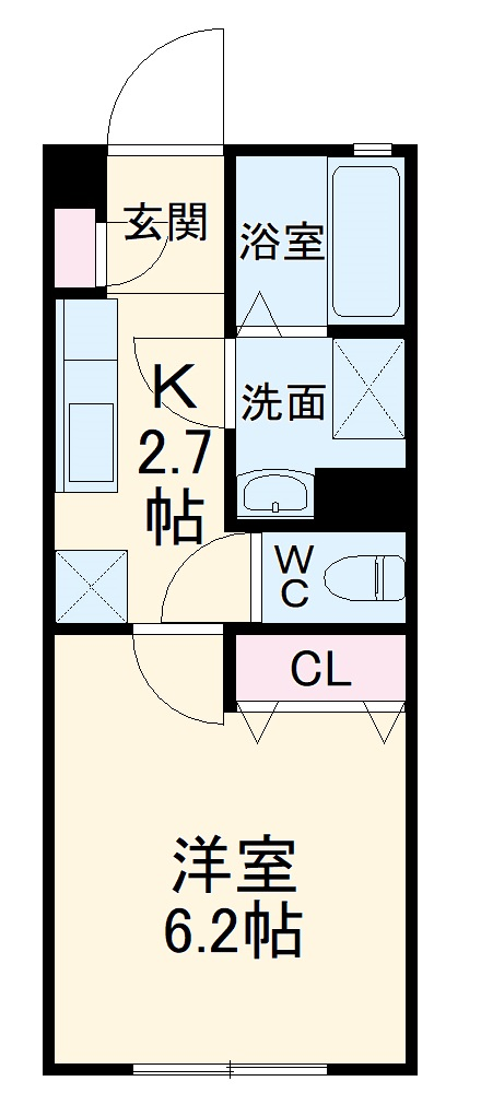 ドルチェ桜橋 103号室の間取り