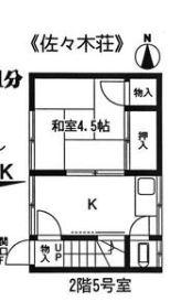 佐々木荘・2F-5号室の間取り