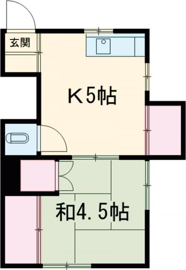 アパートK 1号室の間取り