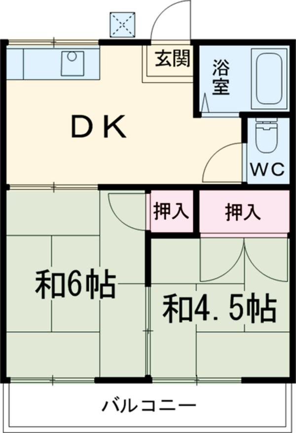板橋荘・206号室の間取り