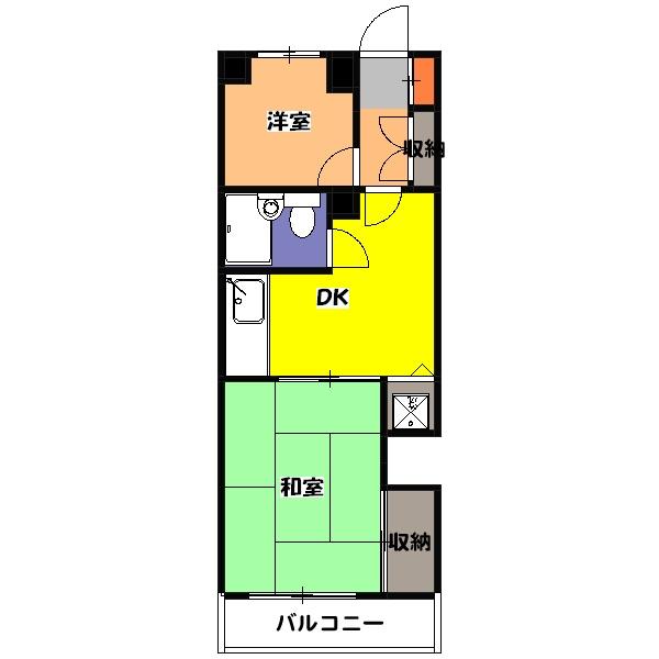 武蔵野パークマンション・206号室の間取り