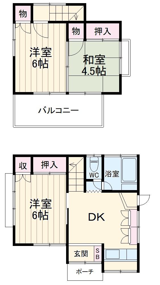 田岡貸家第2・1号室の間取り