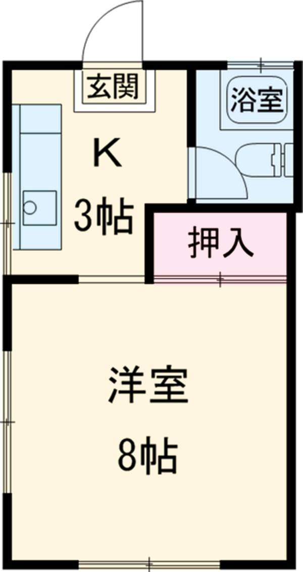 コーポ中村Ⅱ・208号室の間取り