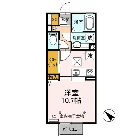 D-room思川ヴェール E・105号室の間取り