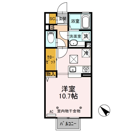 D-room思川ヴェール E・106号室の間取り