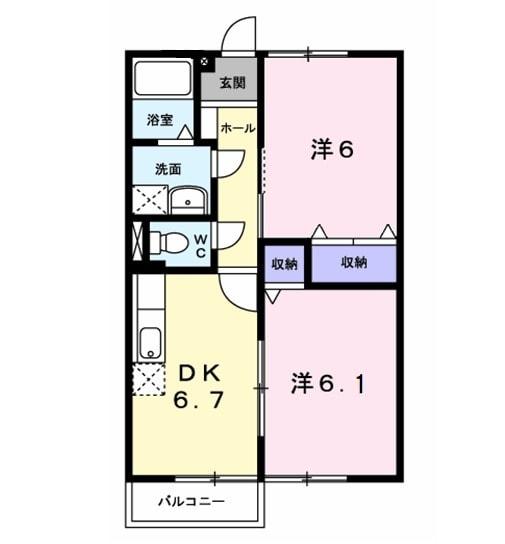 ファミール旭ケ丘Ⅰ・02030号室の間取り