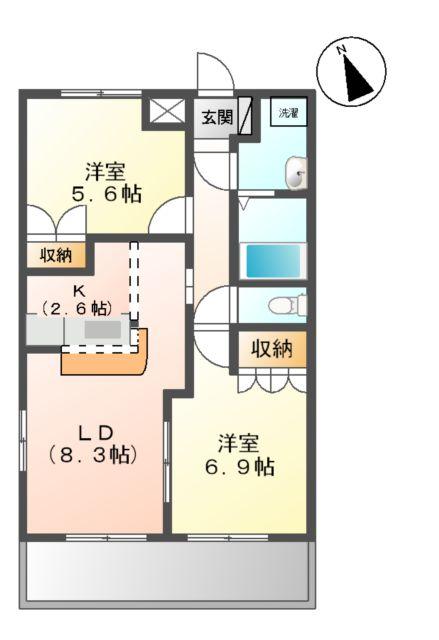 ふらわ~ガーデン・波崎B 203号室の間取り