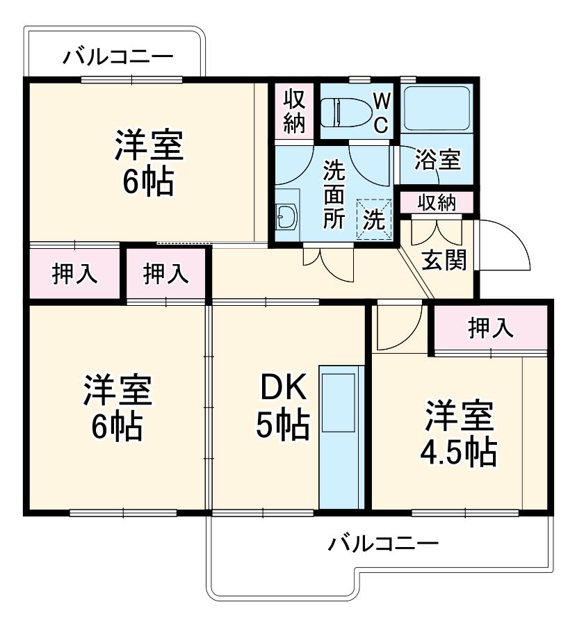 戸頭第一住宅12号棟・402号室の間取り