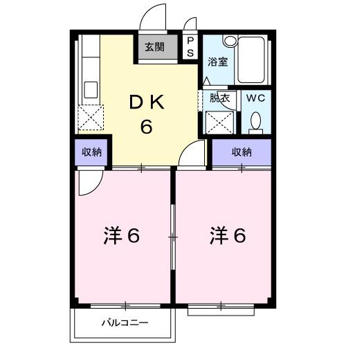 エルディム小川B・01040号室の間取り