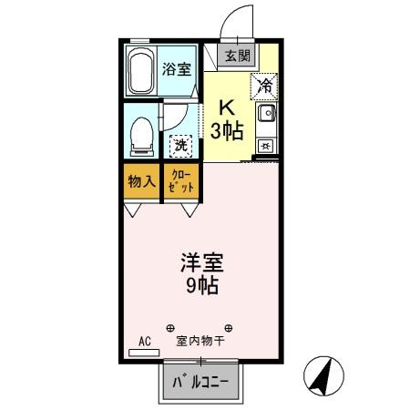 H・Iハウス・105号室の間取り