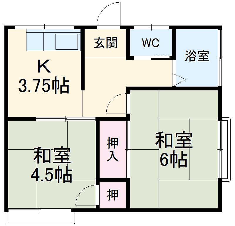 蓮正寺アパート・202号室の間取り