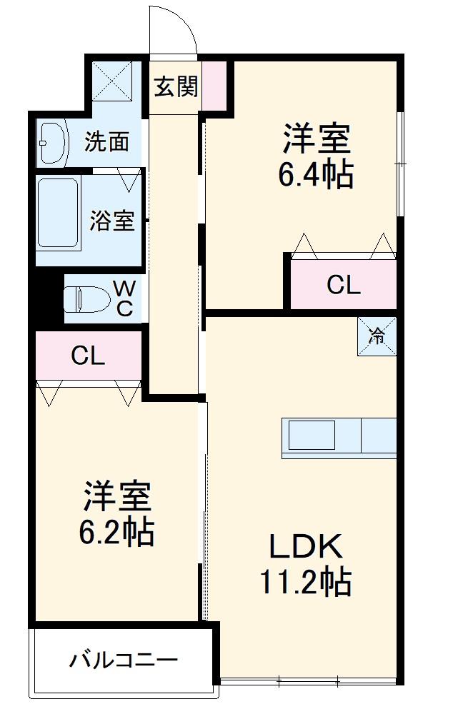 小田原市飯泉マンション新築工事 303号室の間取り