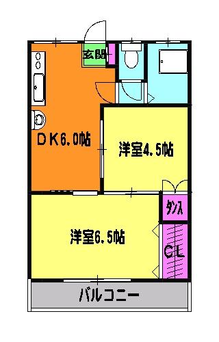 石田マンション 202号室の間取り