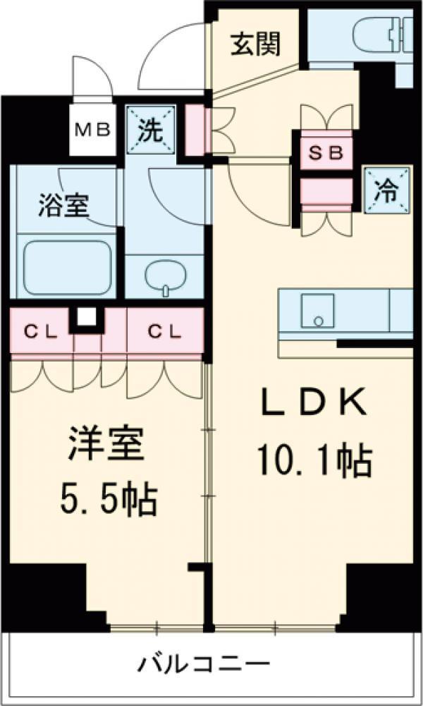 ベルファース菊川・1202号室の間取り