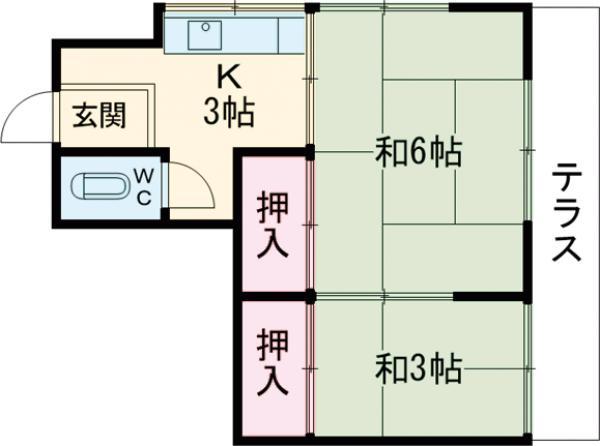 第二鈴喜荘 101号室の間取り