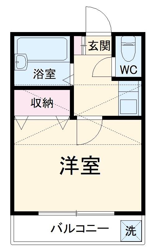 八木崎第一アパート・203号室の間取り