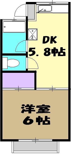 コーポ青藍 2F-1号室の間取り