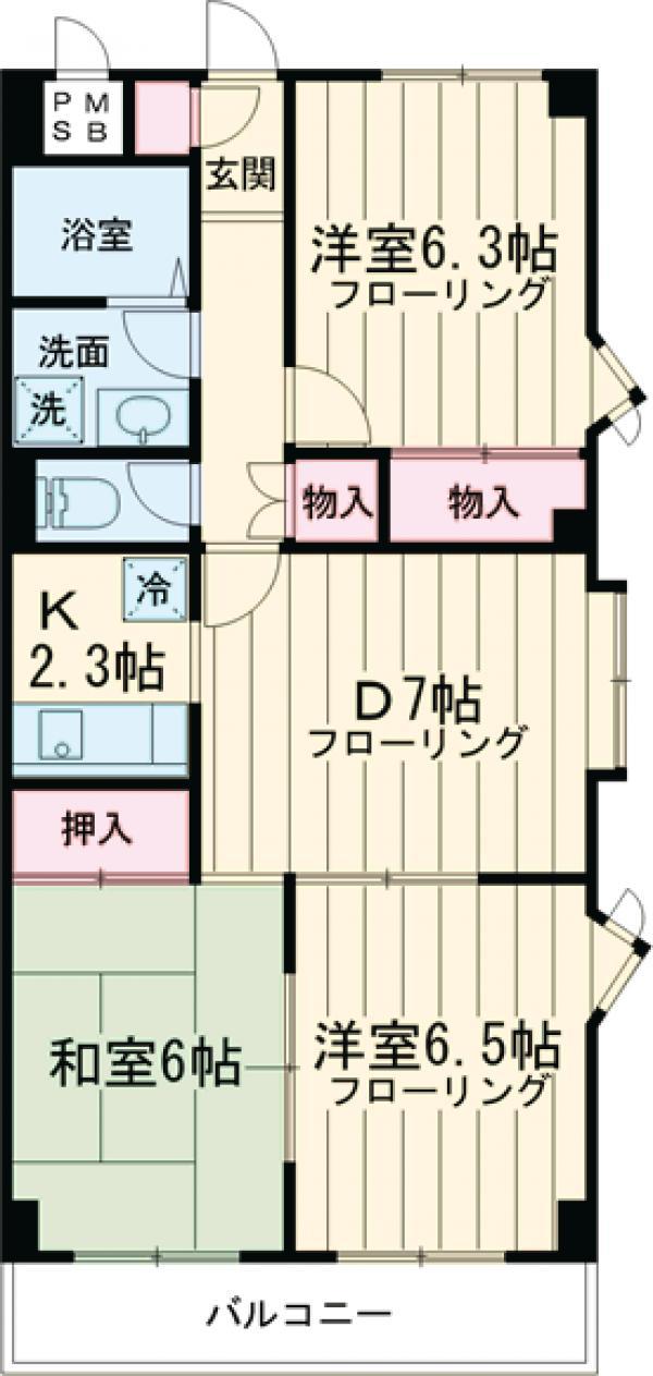 トゥイナーハウス 303号室の間取り