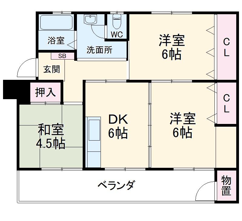 鍋屋上野住宅9号棟・301号室の間取り