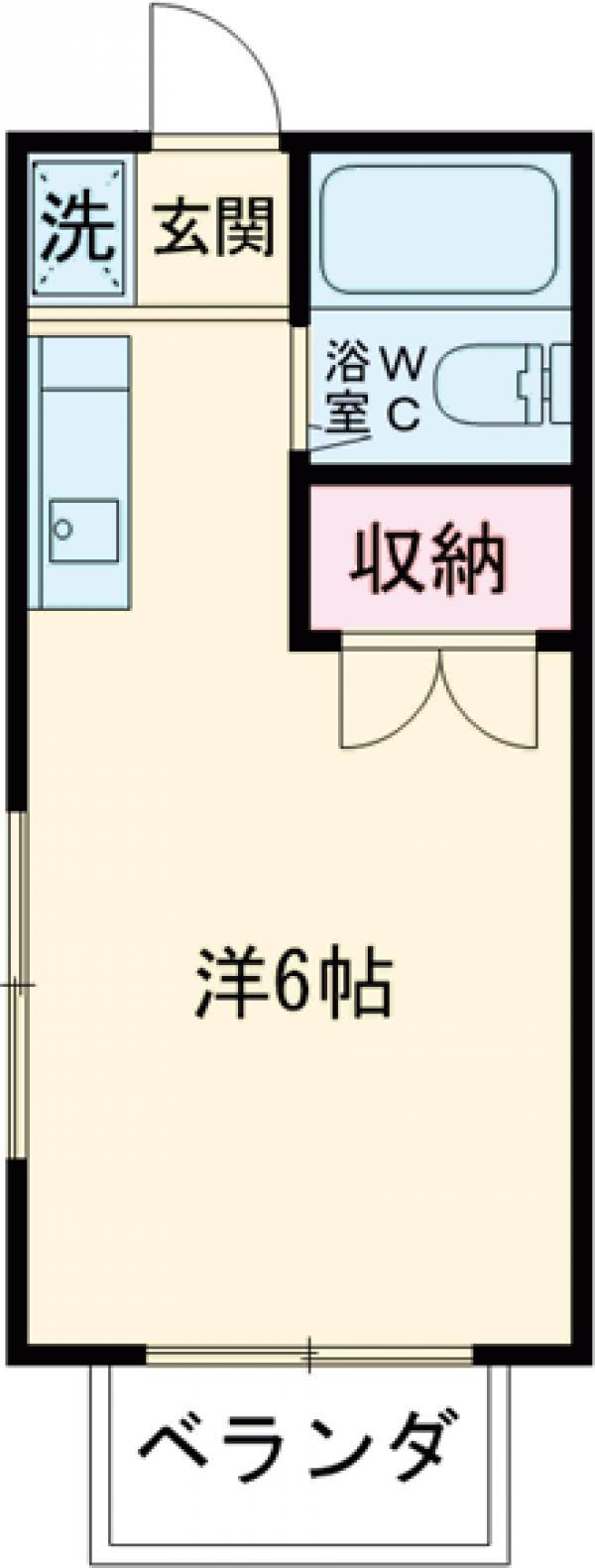 西坂ハウス・102号室の間取り