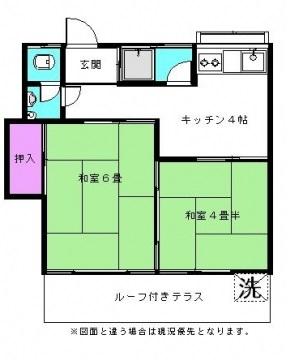 町アパート・1号室の間取り