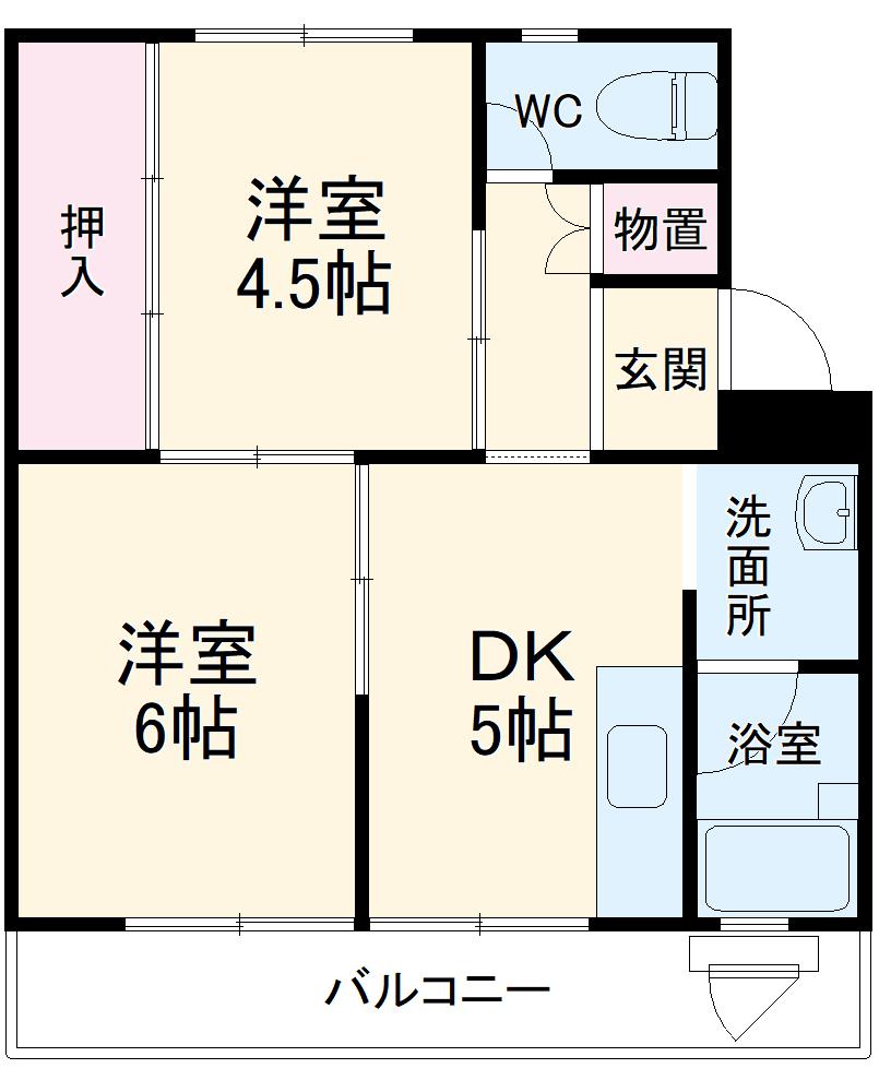 ビレッジハウス大須賀1号棟・405号室の間取り