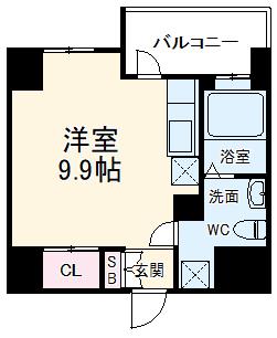 リエス千葉新宿・308号室の間取り