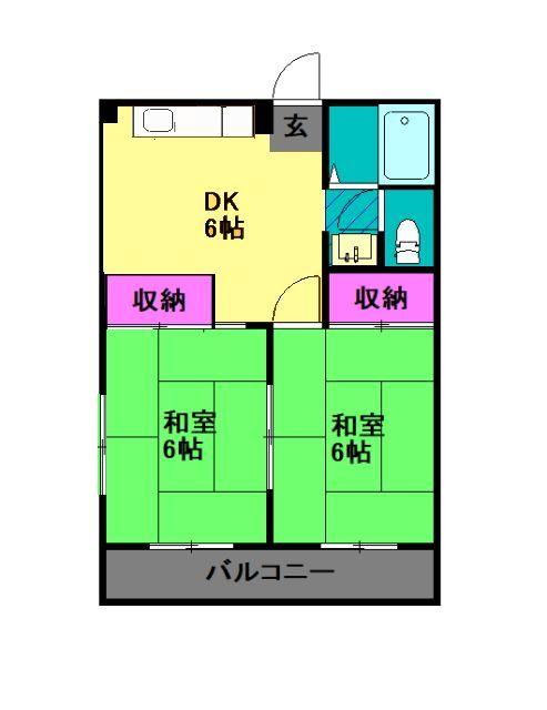 第二中川ハイツ・203号室の間取り