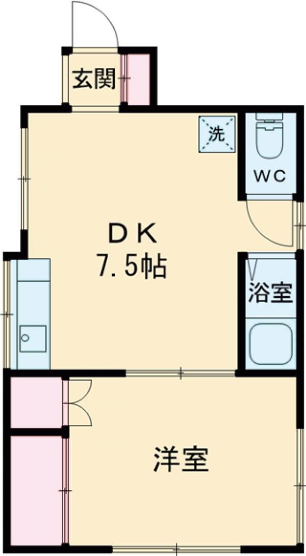 川合アパート・101号室の間取り