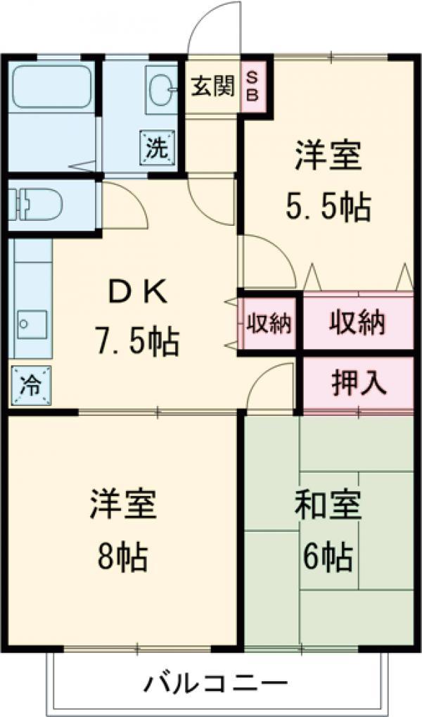 キャッスルカワサキA・205号室の間取り