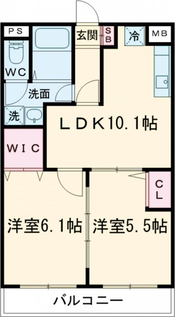 リバーサイド大澤・105号室の間取り