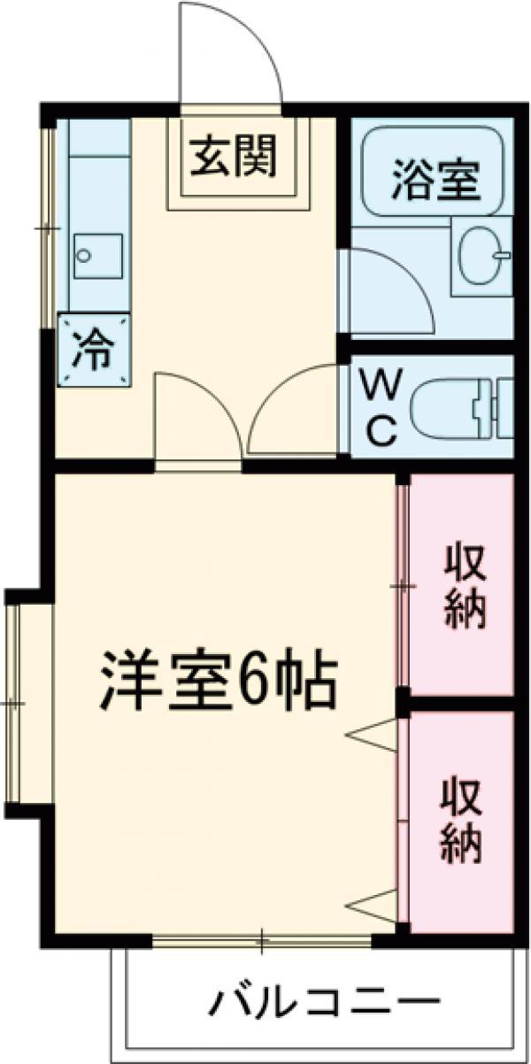 アシカワコーポB号棟 201号室の間取り