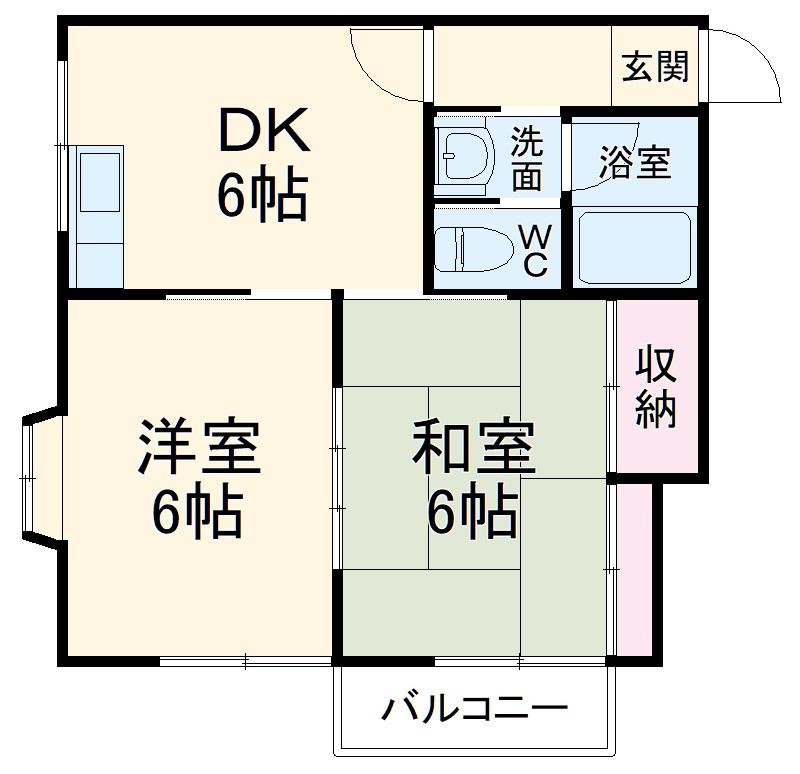 サンコーポ松ケ丘 202号室の間取り