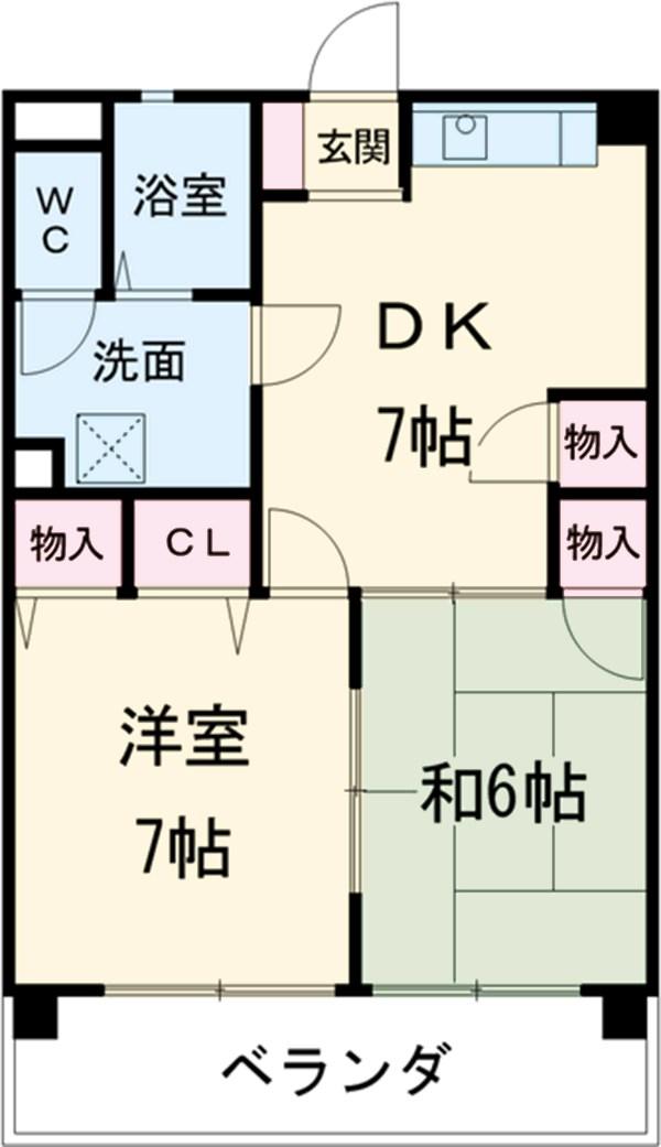 大村宮東マンション・1D号室の間取り