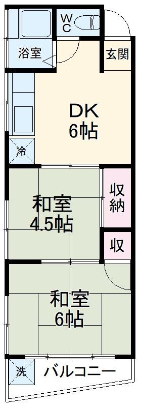 松川マンション 401号室の間取り