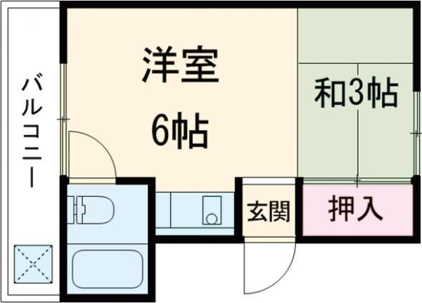 コーポ松岡A棟・2F1号室の間取り