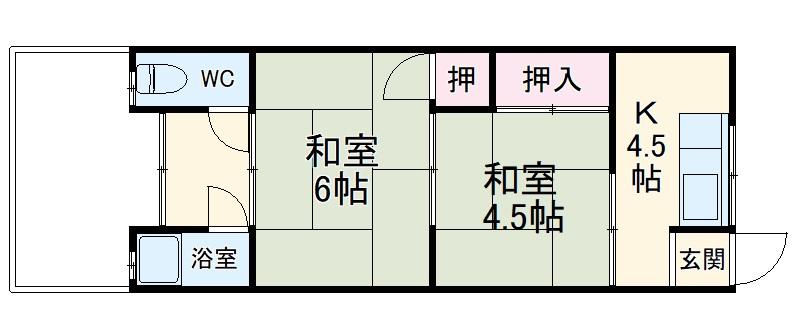 桂ノ宮荘 2号室の間取り