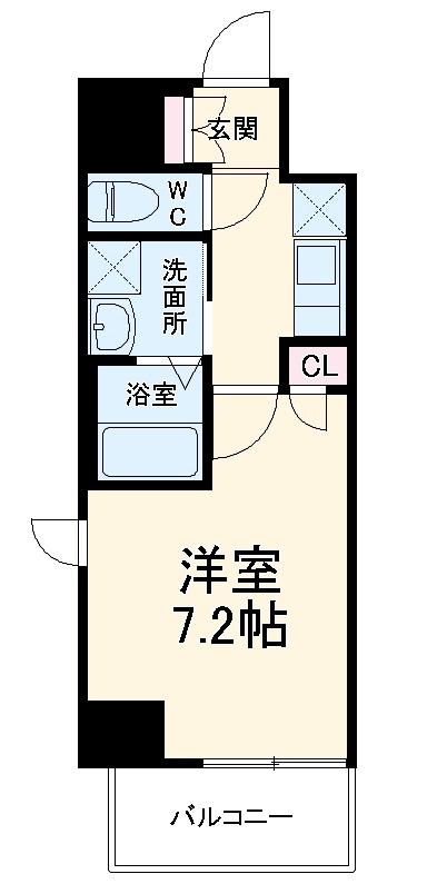 エスカーサ京都四条梅津 204号室の間取り