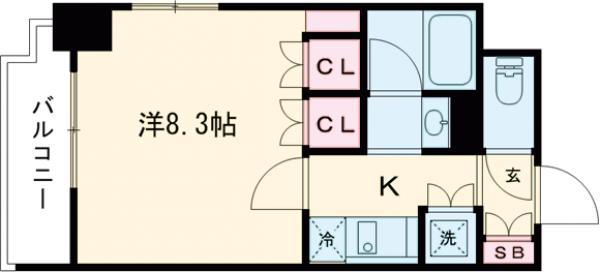 フロントコート錦糸町・702号室の間取り